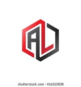 AL initial letters loop linked hexagon logo red black