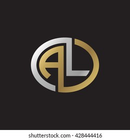AL initial letters looping linked ellipse elegant logo golden silver black background