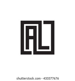 AL initial letters looping linked square monogram logo
