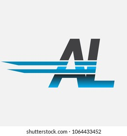 AL initial logo company name colored black and blue, Simple and Modern Logo Design.