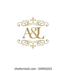 A&L Initial logo. Ornament ampersand monogram logo gold