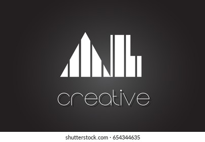 AL A L Creative Letter Logo Design With White and Black Lines.