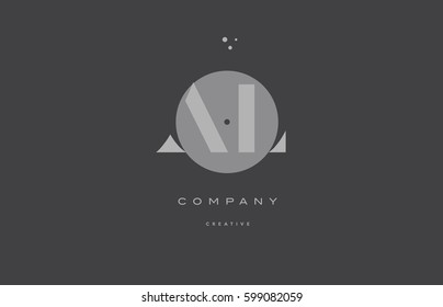 al a l  grey modern stylish alphabet dot dots eps company letter logo design vector icon template