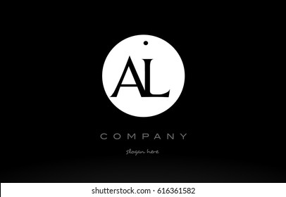 AL A L simple black white circle background alphabet company logo design vector icon template
