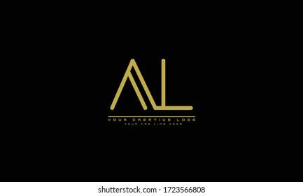 AL LA abstract vector logo monogram template