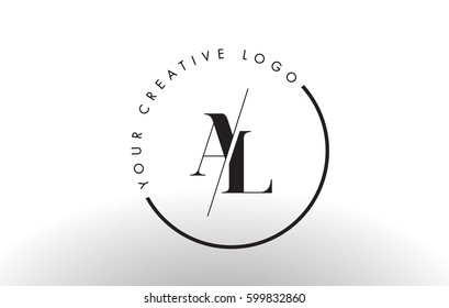 AL Letter Logo Design with Creative Intersected and Cutted Serif Font.