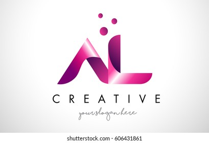 AL Letter Logo Design Template with Purple Colors and Dots