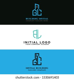 The AL logo set and modern graphic design, Inspirational logo design for all companies and the initial concept of the GL logo set with vector building templates for construction.