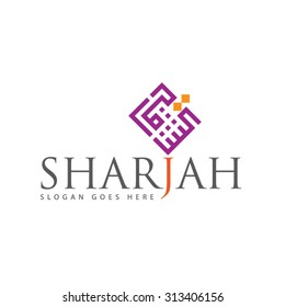 Al Sharjah LOGO illustrator file created by my own arabic calligraphy in a modern Kufi style specially for Arabic Logos and UAE events
