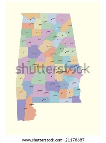 Alabama Counties Map County Seats 72 Stock Vector (Royalty Free ...
