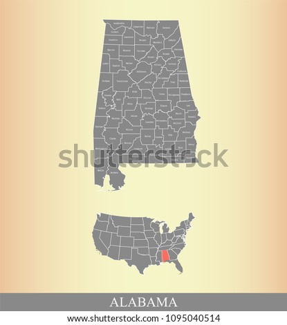Alabama county map with