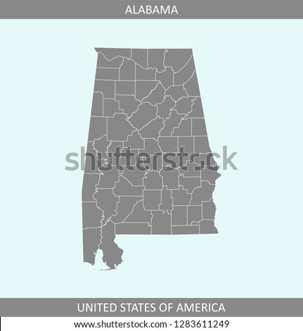 Alabama State Map By County.Alabama County Map Vector Outline Gray Stock Vector Royalty Free