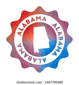 Alabama low poly logo. Colorful gradient travel logo of the us state in geometric style. Multicolored polygonal Alabama rounded sign with map for your infographics.