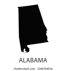 Alabama map. Black Flat vector illustration. EPS10