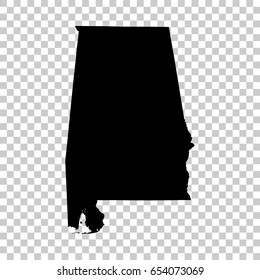 Alabama map isolated on transparent background. Black map for your design. Vector illustration, easy to edit.