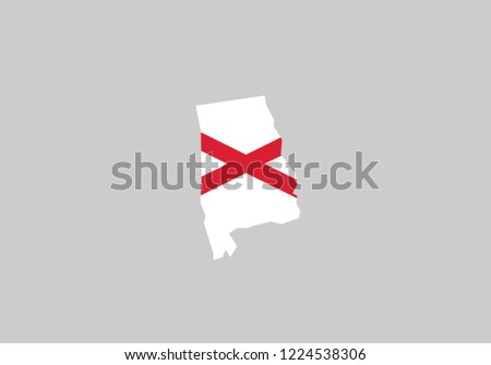 Alabama Map Outline Country Shape National Stock Vector Royalty