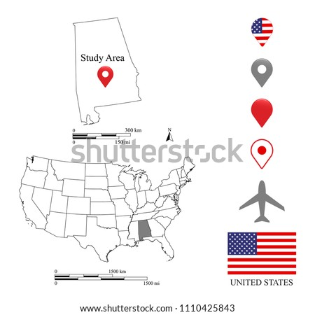 Alabama Map Scale USA Map Scale Stock Vector (Royalty Free ...