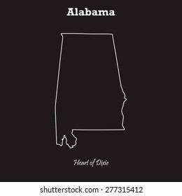 Alabama outline map,stroke. Name of state and nickname. Line style. Vector EPS8