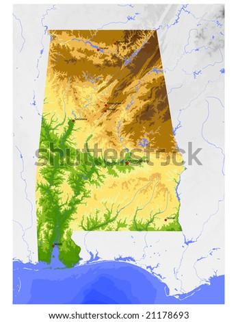 Alabama Physical Vector Map Colored According Stock Vector Royalty