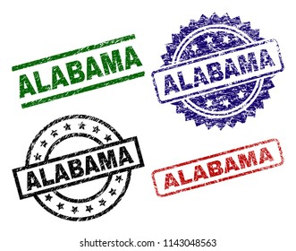 ALABAMA seal prints with corroded surface. Black, green,red,blue vector rubber prints of ALABAMA title with scratched surface. Rubber seals with round, rectangle, medallion shapes.