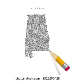 Alabama sketch scribble map isolated on white background. Hand drawn vector map of Alabama. Realistic 3D pencil with rubber.