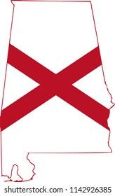 Alabama State Flag Seal Love Heart United States America American Illustration