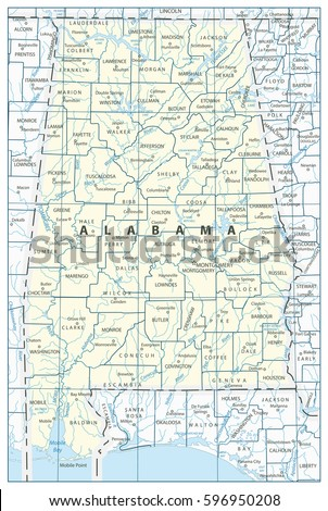 Alabama State Map Cities Towns Lakes Stock Vector (Royalty Free ...