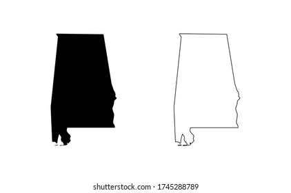 Alabama state map silhouette line country America map illustration vector outline American isolated on white background