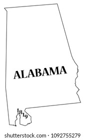 An Alabama state outline with the date of statehood isolated on a white background