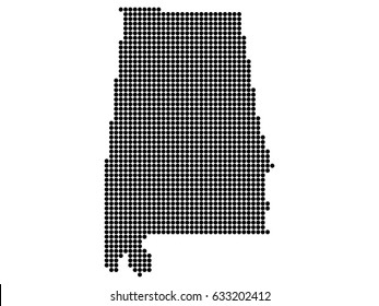 Alabama state print, map. White background, black dots.