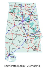 Alabama state road map with Interstates and U.S. Highways. Please note, these maps are iconic only and are not to be used for navigation or logistics. Vector EPS-10 file, no transparency used.