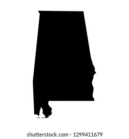 Alabama, state of USA - solid black silhouette map of country area. Simple flat vector illustration.