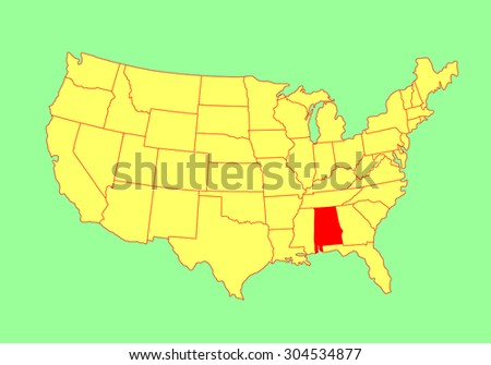 Alabama State USA Vector Map Isolated Stock Vector (Royalty Free ...