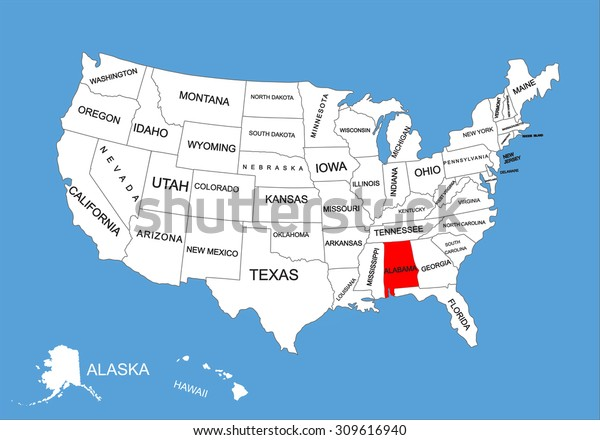 Alabama State Usa Vector Map Isolated Stock Vector (Royalty ...