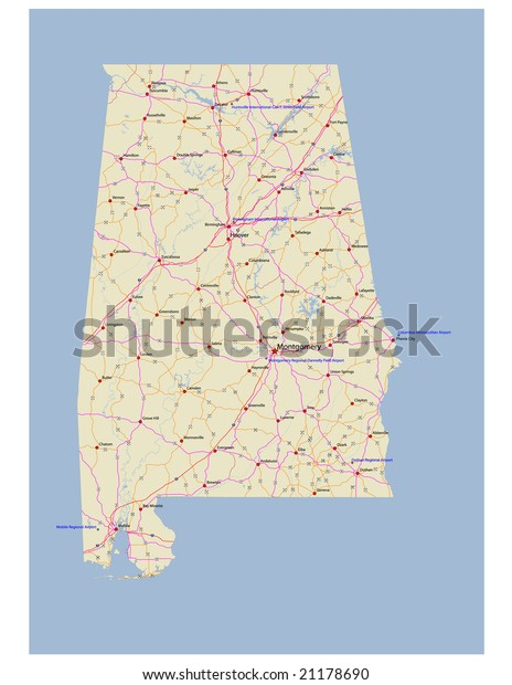 Alabama Transportation Vector Map Rivers Selected Stock ...
