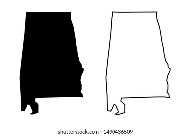 Alabama US state blank map vector solid black color and outline isolated on white background