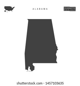 Alabama US State Blank Vector Map Isolated on White Background. High-Detailed Black Silhouette Map of Alabama.