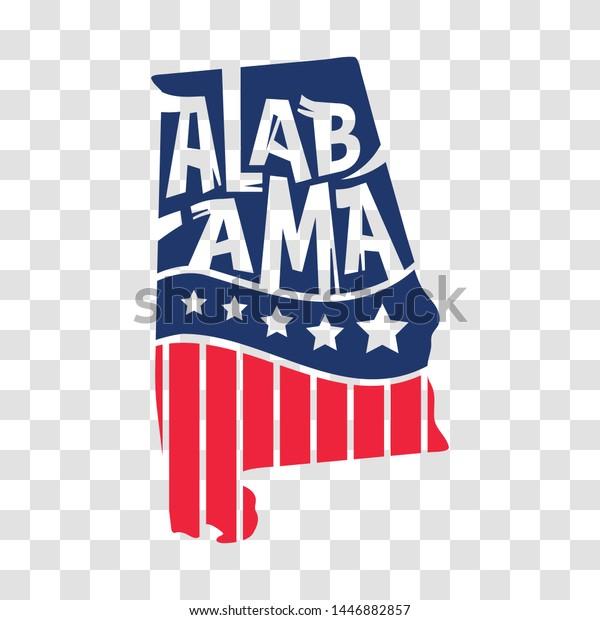 Alabama Usa Map States Hand Drawn Stock Vector (Royalty Free ...