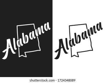 Alabama vector logo. Illustration of the USA state emblema. The US state contour on the black and white background. Lettering and outline of the territory of the United States of America