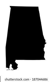 Alabama vector map silhouette isolated on white background. High detailed silhouette illustration. United state of America country.