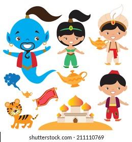 Aladdin fairy tale vector illustration