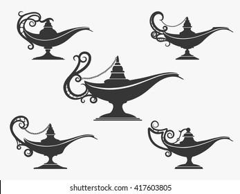 Aladdin or genie oil lamp icons set. Vector illustration