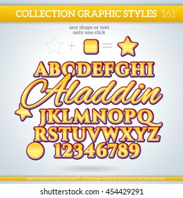 Aladdin Graphic Styles for Design. Graphic styles can be use for decor, text, title, cards, events, posters, icons, logo and other.