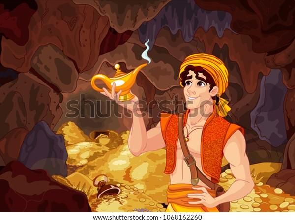 Aladdin holds his magic lamp into a magic treasury cave