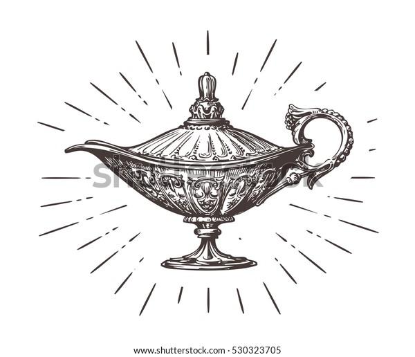 Image Vectorielle De Stock De Aladdin Lampe Magique Ou