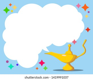 Aladdin s Magic Lamp. Vector genie magic aladdin lamp and white smoke. Alladin golden lantern with dark blue background