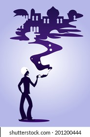 Aladdin's magic lamp silhouette - illustration