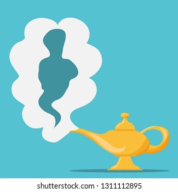 Aladdin's Magic Lamp. Vector genie magic aladdin lamp with white smoke as a copy-space. Alladin golden lantern on blue background.