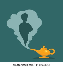 Aladdin's Magic Lamp. Vector genie magic aladdin lamp with white smoke as a copy-space. Alladin golden lantern on blue background. - Vector illustration