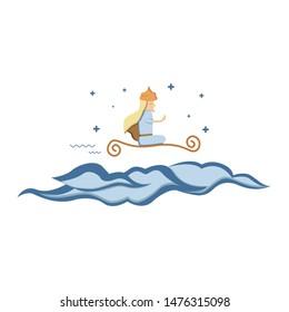 Aladin cartoon character illustration, Vector flat cartoon aladin, flying above the clouds. - vector